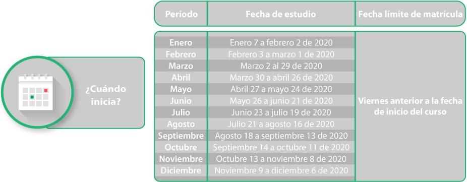Calendario matrículas